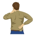 Young man rubbing his painful back vector image