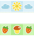 Lace border with summer icons vector