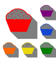 cupcake sign set of red orange yellow green vector image