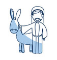cartoon joseph and donkey together standing line vector image