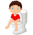 Little boy sitting on the toilet vector image