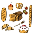 Bakery cakes and pastry objects vector image vector image