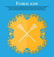 Lacrosse Sticks crossed icon Floral flat design on vector image