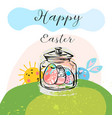 awesome happy easter card in funny rabbits vector image