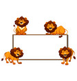 border template with four lions vector image