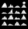 collection of mountain silhouette icons in flat vector image
