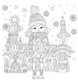 cute girl in winter hat with christmas gift vector image