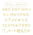 Handwritten gold alphabet vector image