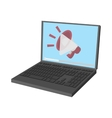 Laptop icon with megaphone on screen vector image