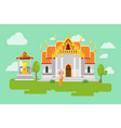 thai temple lifestyle culture background vector image