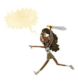 cartoon girl with sword with speech bubble vector image