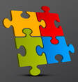 Jigsaw - Puzzle Pieces 3D on Dark Background vector image vector image
