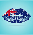 australia flag lipstick on the lips isolated on a vector image