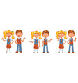 back to school boys and girls posing together vector image