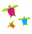 Multicolored origami turtles family vector image