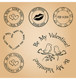 set of stamps for valentine day - elements vector image