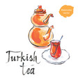 watercolor turkish tea with turkish kettle vector image