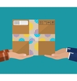 Hands with postal cardboard box vector image