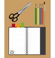 notebook scissors and pencils vector image vector image