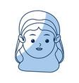 Cute face virgin mary manger cartoon outline icon vector image
