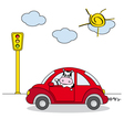 cow driving a red car vector image vector image