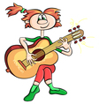Girl playing the guitar vector image vector image