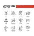 Scuba Diving line design icons set vector image