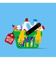 Basket with hygiene items vector image