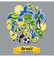 Brazil background with sticker objects and vector image