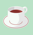 cup of coffee on plate with green pastel vector image