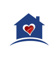 House with heart and gold key logo vector image