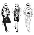stylish male and female street fashion vector image
