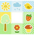 Summer frame with flower strawberry sun and bird vector