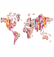 World made with cutlery colors silhouettes vector image