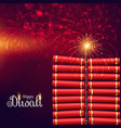 bursting cracker bomb for happy diwali festival vector image