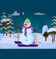 isolated snowman on skies outside trees evening vector image