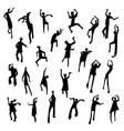 people figures in motion dancing people set cute vector image