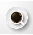 Realistic top view coffee cup isolated on white vector image