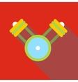 Engine pistons on a crankshaft icon flat style vector image