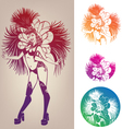 ink linework dancing girl in carnival feather vector image