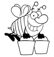 Royalty Free RF Clipart Happy Honey Bee Flying vector image