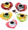 Coffee mugs on scrapbook towels vector image