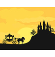 Carriage at sunset Silhouette of a horse carriage vector image vector image