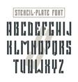 Bold stencil plate sans serif font military vector image