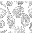 Seamless black and white pattern of seashells to vector image