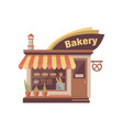 bakery store building facade with signboard and vector image