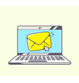 blue laptop with yellow envelope on color vector image