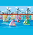 city scene with kids sailing and cars on bridge vector image