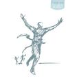 Drawn man crossing winner successful finish vector image