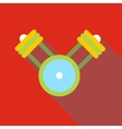Engine pistons on a crankshaft icon flat style vector image
